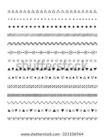 Hand drawn border lines decorative elements set. Vector brushes - stock vector
