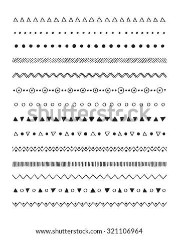 Hand drawn border lines decorative elements set. Vector brushes - stock vector