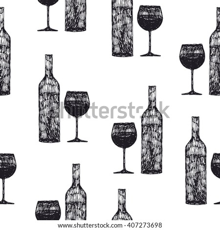 hand drawn bottle of wine and wine glass seamless pattern - stock vector