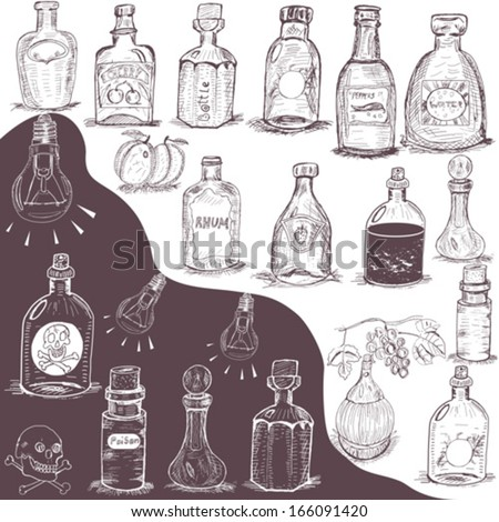 hand drawn bottles - stock vector