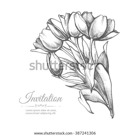 Sketch illustration of flowers stylish design template for greeting