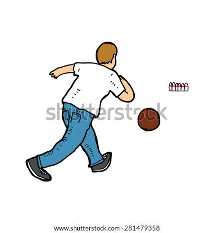 hand drawn bowling player - stock vector