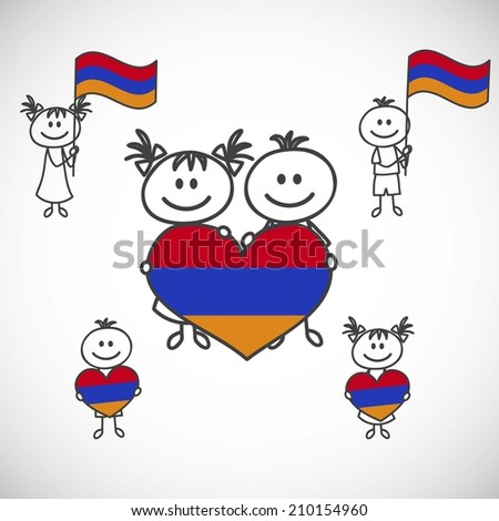 hand-drawn boy and girl holding flag on a white background, cartoon doodle. Armenia - stock vector
