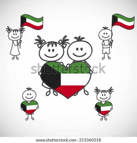 hand-drawn boy and girl holding flag on a white background, cartoon doodle. Kuwait - stock vector
