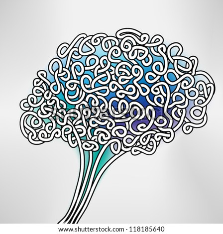 Hand Drawn Brain, a thinking human concept,  EPS10 Vector background