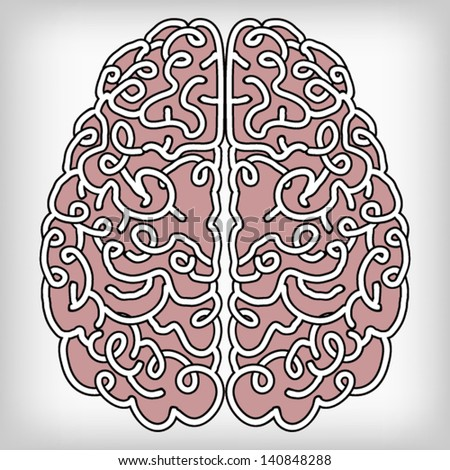 Hand Drawn Brain, a thinking human concept, EPS10 Vector background - stock vector