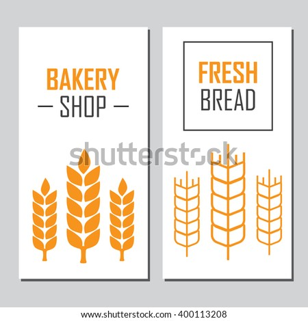Hand drawn bread horizontal banners - stock vector