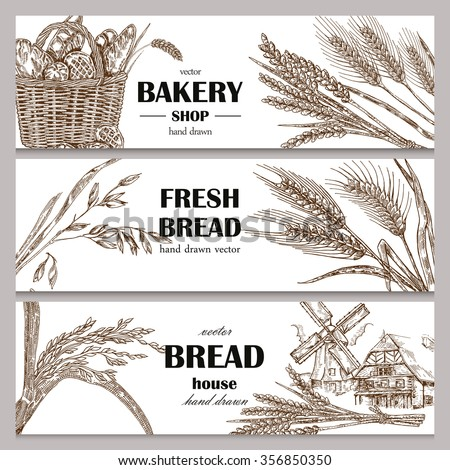 Hand drawn bread horizontal banners. Banner set. Vector illustration in sketch style. - stock vector