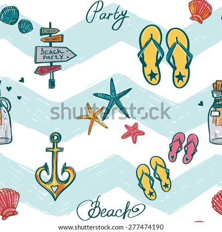 Hand drawn bright sketch kids star fish, bottle, anchor, shell, flip-flop. Set of isolated sea summer ocean beach party marine wedding seamless pattern. Colored sketch on white blue chevron background - stock vector