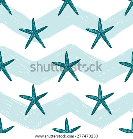 Hand drawn bright sketched kids starfish. Set of isolated sea summer ocean beach party marine wedding seamless pattern. Colored sketch on white blue chevron background
