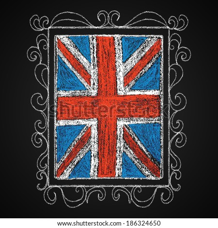 Hand drawn british flag. Chalk on board. British flag in frame. Vector illustration. - stock vector