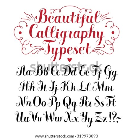 Hand Drawn Brush Calligraphy Vector ABC LettersBeautiful Font For Your Design
