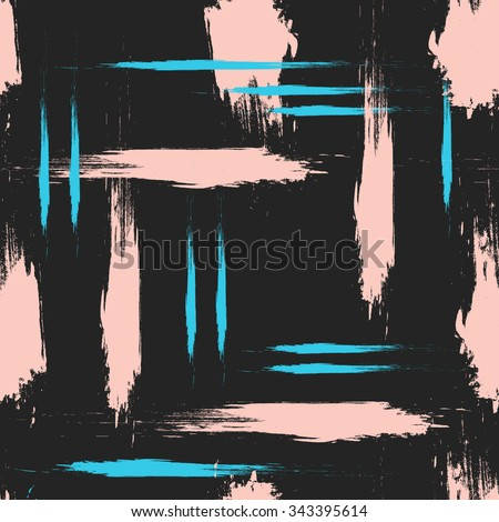 Hand drawn brush hipster pattern in vector.Stylish geometric brush strokes fantasy print .Speed style art with black background. - stock vector