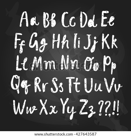 Hand drawn brush ink vector ABC letters set on blackboard background. Grungy textured comic font for your design.