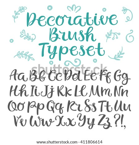 Hand drawn brush ink vector typeset with doodle floral elements. Including upper and lower case. Curly decorative font for your design.  - stock vector