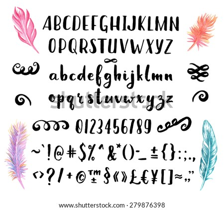 Hand drawn brush pen font for your awesome design with watercolor feathers. - stock vector
