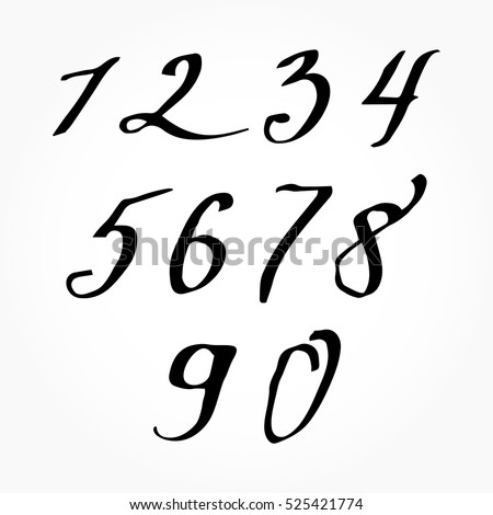 Vector Ink Numbers Watercolor Numbers Calligraphy Stock