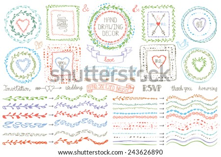 Hand drawn brushes,wreath, line border,heart ,ribbon set.ribbon.Colored Doodle decor.For design template, invitations, holiday, Valentine day,baby design.Love Vector