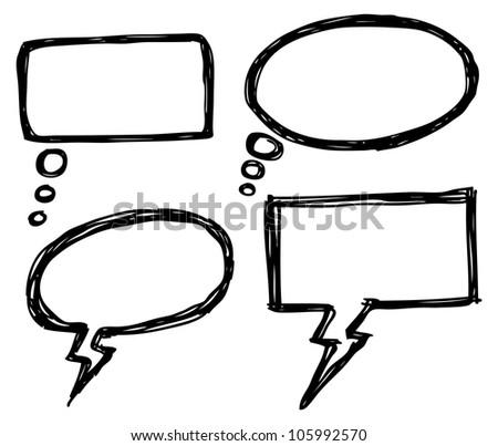 hand drawn bubble speech - stock vector