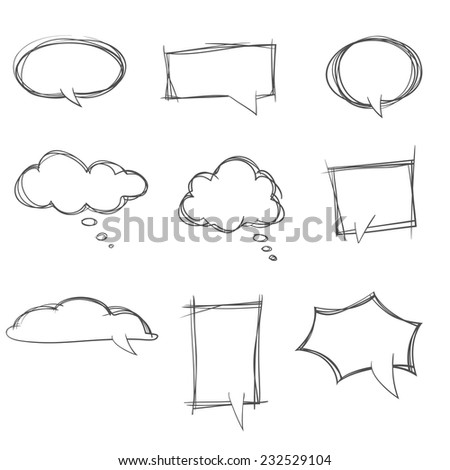 hand drawn bubble speech  - stock vector