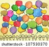 Hand drawn bubbles, colorful - stock vector