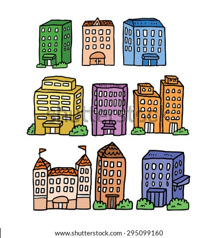 hand drawn building - stock vector