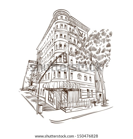 Hand drawn building, vector illustration - stock vector