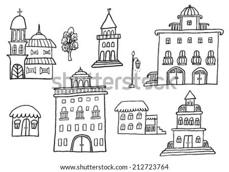 Hand Drawn Buildings - stock vector
