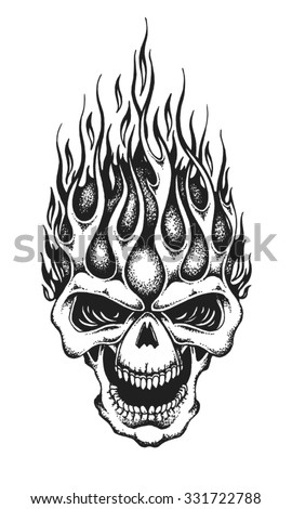 Hand drawn burning skull. Vector illustration - stock vector