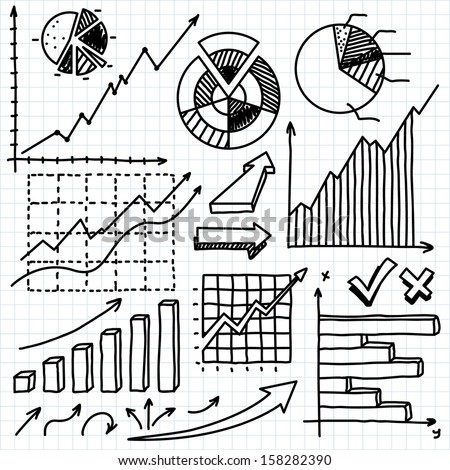 hand-drawn business doodles - stock vector