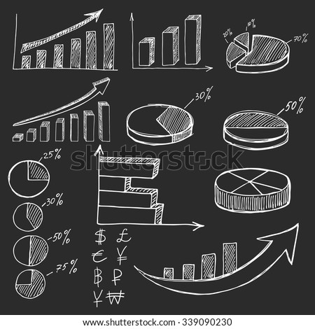 Hand drawn business finance elements on black background or blackboard - stock vector