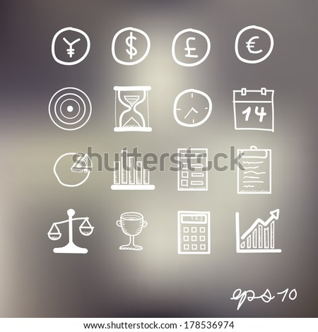 Hand drawn business Icons - stock vector