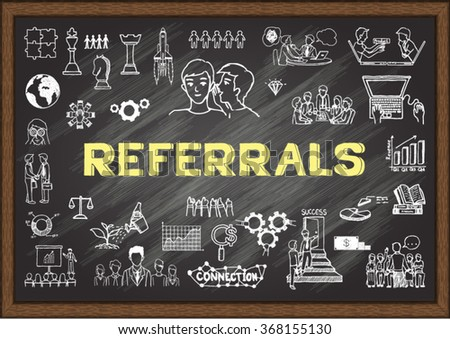 Hand drawn business icons about referrals on chalkboard - stock vector