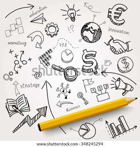 Hand drawn business icons with a pencil on white background. Vector illustration - stock vector