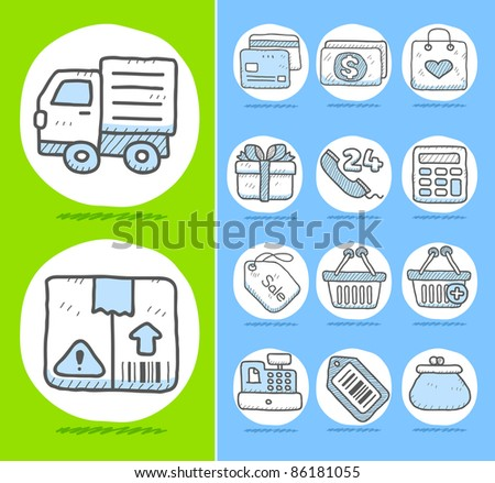 Hand drawn Business,office,travel,shopping icon set