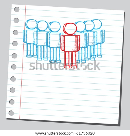 Hand drawn business team work concept - stock vector