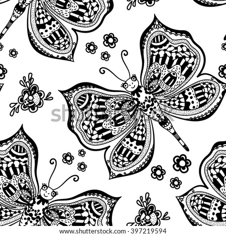 decorative butterfly floral ornament anti stresa stock