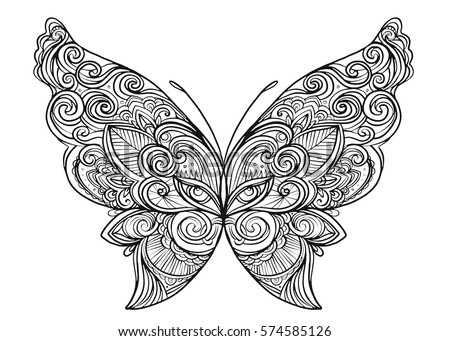 Hand Drawn Butterfly Zentangle Style Inspired Stock Vector ...