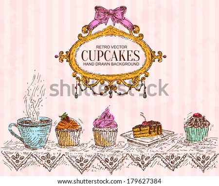 Hand Drawn Cafe Background and  Decorative Frame - stock vector