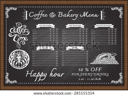 hand drawn cafe menu con chalkboard design template