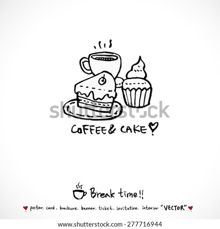 Hand drawn cafe poster illustration - vector