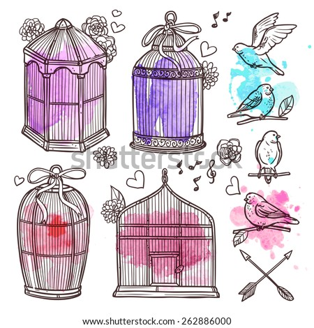 Hand drawn cages and birds with watercolor marks scrapbook set vector illustration - stock vector
