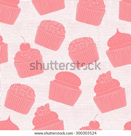 Hand drawn cake seamless pattern. Vector illustration. - stock vector