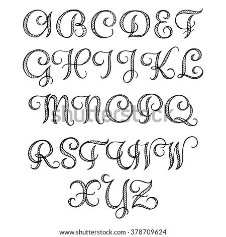 Set Art Calligraphy Letter H Flourish Stock Vector