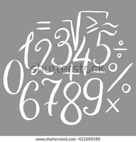 Hand drawn calligraphic font, lowercase small letters - stock vector