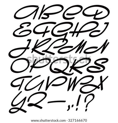 Hand drawn calligraphic font. Script type.  - stock vector