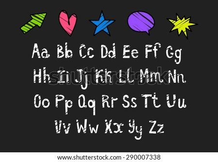 Hand Drawn Calligraphic Vector Font. White Grunge Alphabet on Chalkboard. Colorful Abstract Symbols Set. School Elements on Dark Background. - stock vector