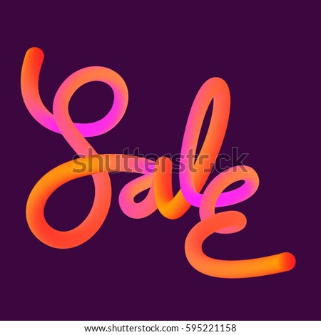Hand Drawn Calligraphy Style Of SALE Word In Orange And Pink Gradient Colors Isolated On