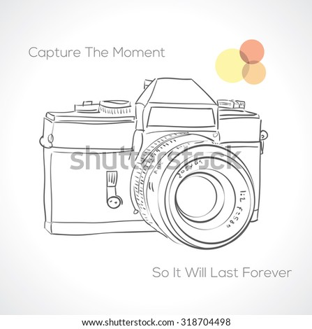 Hand drawn camera icon with quote. vector illustration  - stock vector