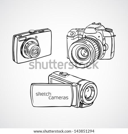 Hand drawn cameras - vector - stock vector